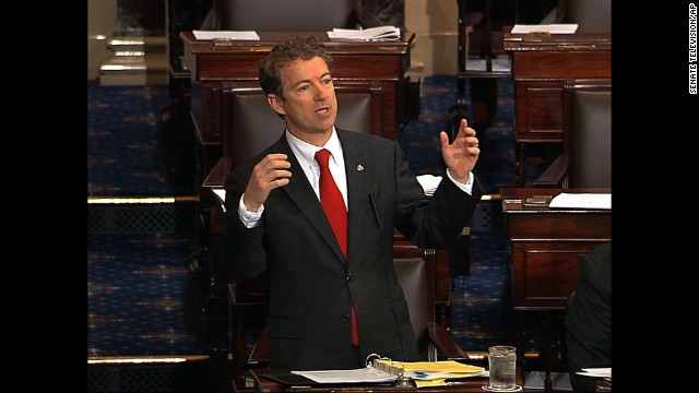 Kentucky Sen. Rand Paul conducted a 13-hour filibuster in March 2013 against the nomination of John Brennan as director of the CIA. He's viewed as a possible presidential candidate in 2016.