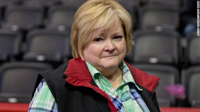Collins' No. 98 shirt has been the best-selling jersey in the NBA since his return to the league. The number is a tribute to Matthew Shepard, a gay student at the University of Wyoming who was beaten to death in 1998. Shepard's parents, mother Judy pictured here, traveled to Denver to meet with Collins.