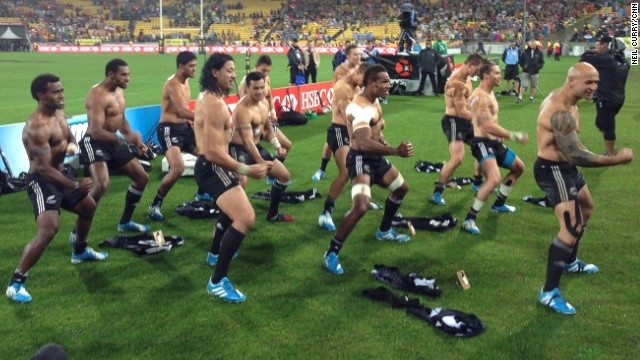 "The Kiwi team treated the crowd to a trademark ""Haka"" -- a traditional Maori war dance."