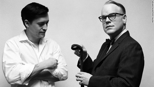 "The late Philip Seymour Hoffman, right, finds acclaim in 2005 as ""Capote."" He is seen here with Clifton Collins Jr."