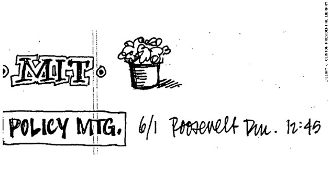 The doodle was penned by Shesol during a June 1, 1998, White House policy meeting.