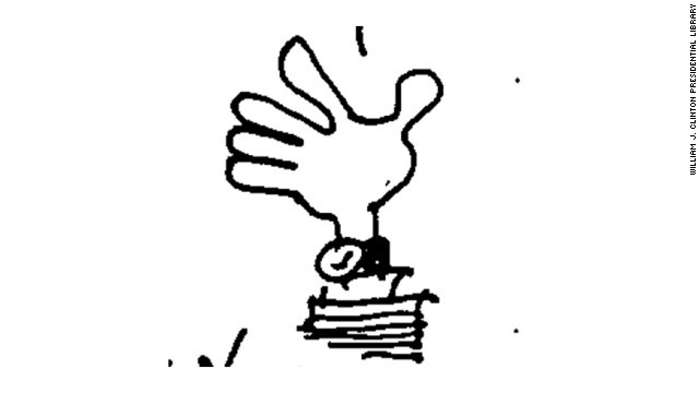 This image of a disembodied hand bearing a watch was also doodled by Shesol on June 1, 1998.