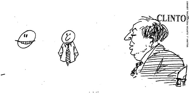 The doodle was found in notes about a May 10, 1999, meeting and White House strategy session on children and violence.
