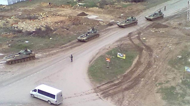 An image provided to CNN by a local resident shows Russian tanks on the move in Sevastopol, Ukraine.