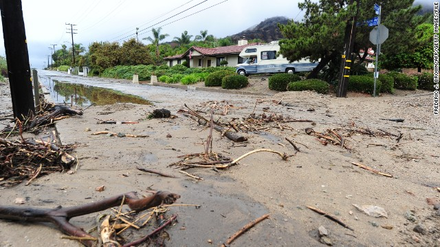Streets remain closed after a mudslide resulting from heavy overnight rain in Glendora on February 28.