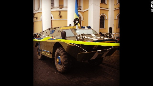 "KIEV, UKRAINE: ""APC in central Kiev (March 1). It appeared the morning after Russian forces moved into the Crimea."" -- CNN's Ian Lee. Follow Ian on Instagram at <a href='http://instagram.com/ianjameslee' target='_blank'>instagram.com/ianjameslee</a>."