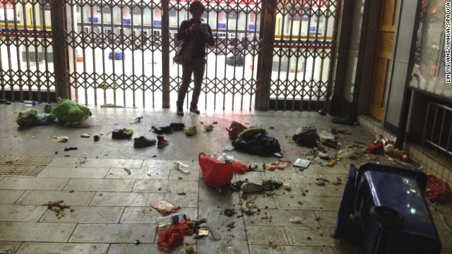 Luggage lies scattered inside the Kunming Railway Station in Kunming, the capital of southwest China's Yunnan Province, on Saturday, March 1, after an attack left at least 29 dead and more than 100 injured.