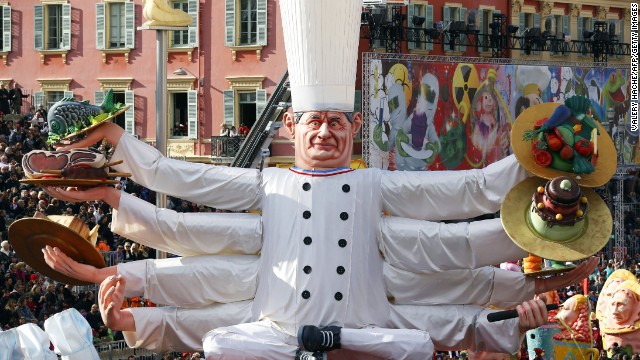 "A float named ""Imperial Bocuse"" and featuring French chef Paul Bocuse parades during the Nice Carnival in Nice, France, on Sunday, March 2."