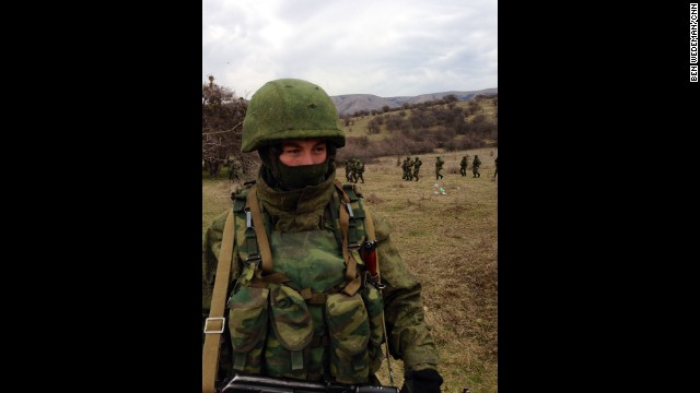 "PEREVALNOYE BASE, UKRAINE: ""Outside Ukrainian base in Crimea (March 2), tight-lipped but obviously Russian marines deploy around perimeter as Ukrainian soldiers inside vow not to surrender."" - CNN's Ben Wedeman. Follow Ben on Instagram at instagram.com/bcwedeman."