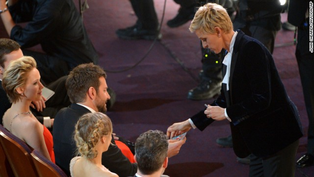 "DeGeneres gives Cooper scratch-off lottery tickets -- a ""consolation prize"" because he didn't win the Oscar for best supporting actor."