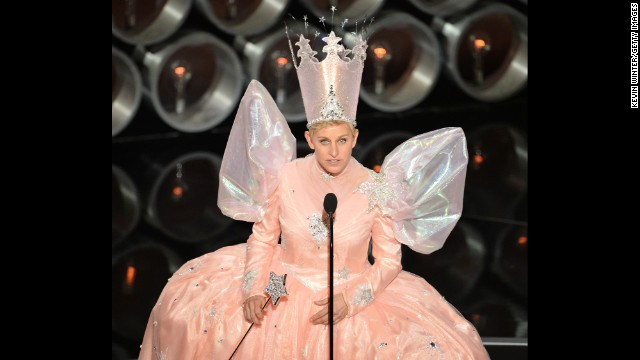 "DeGeneres channels Glinda the Good Witch from ""The Wizard of Oz."""