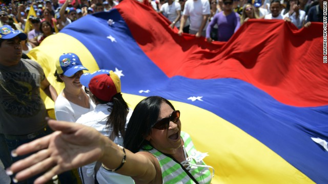 Activists in Caracas march in protest against the government of Venezuelan President Nicolas Maduro on March 2.