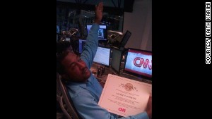 Mungin shows off his Peabody Award certificate for CNN\'s coverage of the Gulf oil spill in 2009.