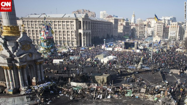 "Independence Square after a week of protests.""This sunny day felt like <a href='http://ireport.cnn.com/docs/DOC-1093168'>spring cleaning</a>, like taking care of our home together!"" Mikhaluk said."
