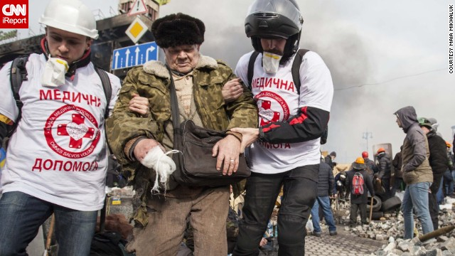 Mikhaluk said that since the evening of February 18, a once peaceful <a href='http://ireport.cnn.com/docs/DOC-1088436'>Euromaidan</a> had become a battlefield.