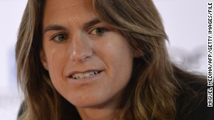 French tennis player Amelie Mauresmo gives a press conference at the Paris WTA tournament on January 29, 2014 in Paris. AFP PHOTO / MIGUEL MEDINA (Photo credit should read MIGUEL MEDINA/AFP/Getty Images)