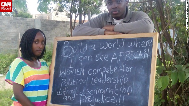 """In Nairobi, Kenya, writer and publicist Corrie Mwende wants to build a world where female African leaders are the norm, not the exception. """"My hope is that this notion changes and that soon women leaders will be recognized...and respected. A world of equality in all spheres,"""" says Mwende."""