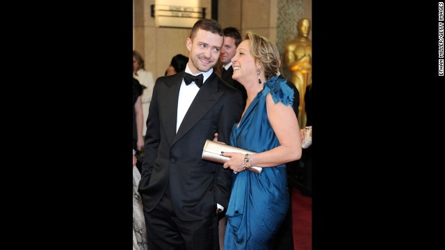 Justin Timberlake and mother Lynn Harless arrive at the 83rd Annual Academy Awards on February 27, 2011, in Hollywood, California.