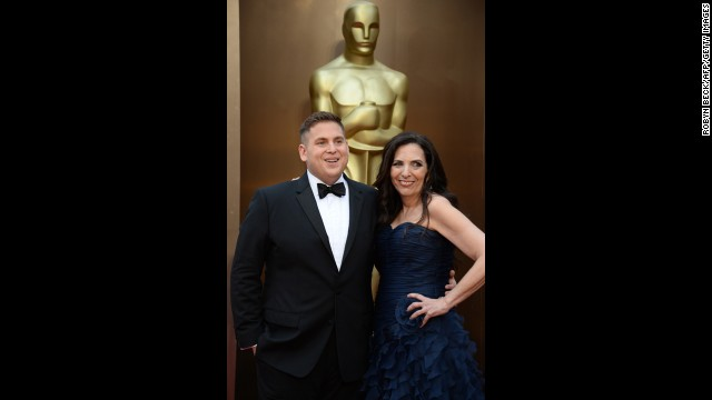 """Nominee for Best Actor in a Supporting Role for """"The Wolf of Wall Street"""" Jonah Hill and mother Sharon Lyn Chalkin arrive on the red carpet for the 86th Academy Awards."""