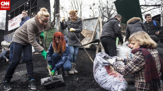 Meanwhile, Ukrainians have started cleaning Kiev after several months of protesting.