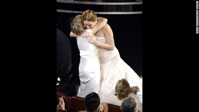 "Jennifer Lawrence hugs mother Karen Lawrence after winning the Best Actress award for ""Silver Linings Playbook"" during the Oscars on February 24, 2013, in Hollywood, California."