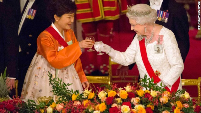 South Korean President Park Geun-hye and Queen Elizabeth toast at a state banquet at Buckingham Palace on November 5, 2013. Park was on a state visit to the United Kingdom.