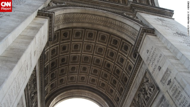 You'll have to crane your neck to study the carvings on the underside of the <a href='http://ireport.cnn.com/docs/DOC-827560'>Arc de Triomphe</a> in Paris, standing 164-feet tall at the center of Place Charles de Gaulle.