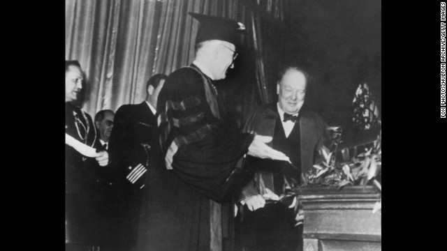 "President Harry S. Truman introduces Winston Churchill at Westminster College in Fulton, Missouri, on March 5, 1946. In his speech, the former British prime minister declared, ""From Stettin in the Baltic to Trieste in the Adriatic, an Iron Curtain has descended across the Continent."""