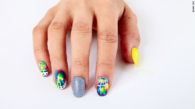 Clients can book specific artists or choose a particular style, like this one by TopCoat nail stylist Kiri Jones.