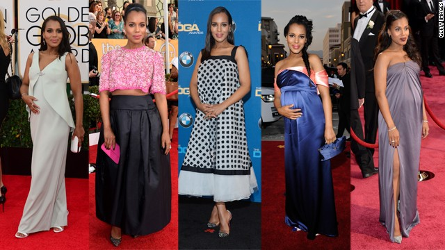 From left, Kerry Washington wears Balenciaga at the Golden Globes, Prada at the Screen Actors Guild Awards, Oscar de la Renta at the Directors Guild Awards, Thakoon at the NAACP Image Awards and Jason Wu at the Oscars.