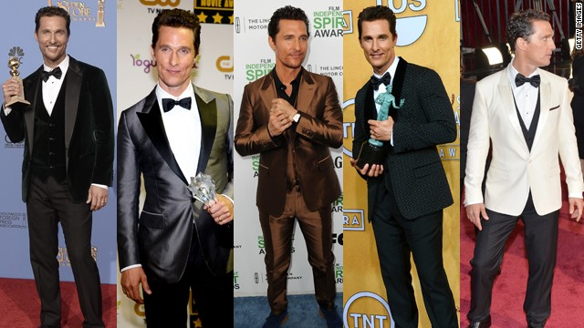From left, Matthew McConaughey wears Dolce & Gabbana at the Golden Globes, Lanvin at the Critics Choice Awards, Dolce & Gabbana at the Spirit Awards, Dolce & Gabbana at the Screen Actors Guild Awards and Dolce & Gabbana at the Oscars.