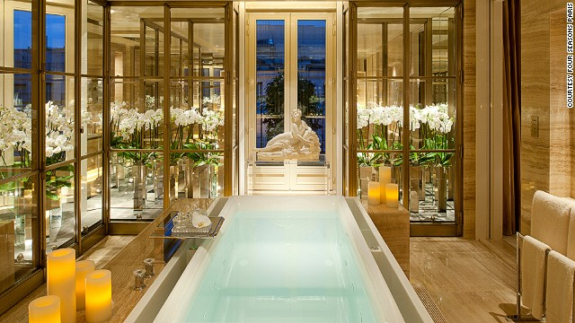 The Penthouse Suite ($30,700) at the Four Seasons Hotel George V in Paris is decked out like a well-curated apartment. Each of the three bedrooms comes with a spacious walk-in wardrobe and oversized marble bathrooms (complete with a steam room, sauna and bidet).