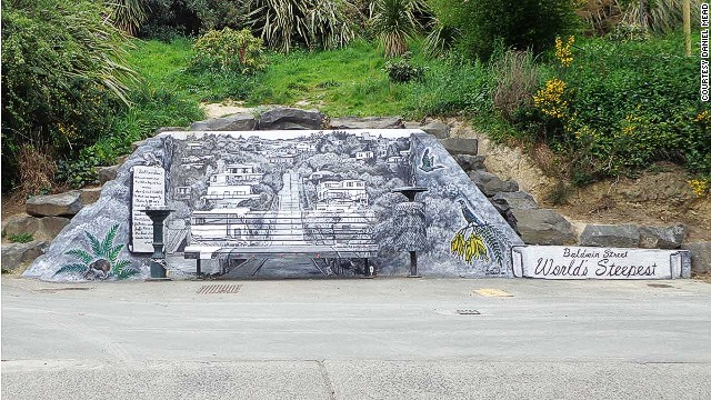 Along with a water fountain, this mural by Daniel Mead graces the top of the street.