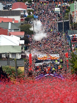 Giant Jaffa candies hurtle down what's locally championed as the world's steepest street each July as part of the Cadbury Jaffa Race. Participants believe in the five-second rule, it would seem.