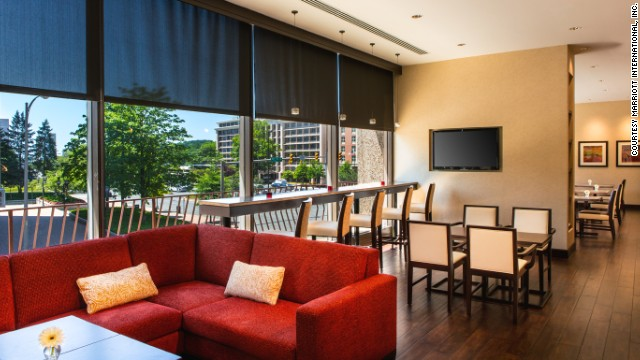 Marriott Rewards' Concierge Lounge won for best hotel program benefit in the Americas. Shown here is the Crystal City Marriott Concierge Lounge.