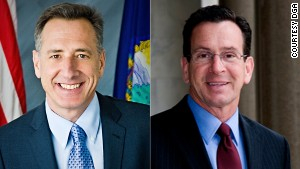 Gov. Peter Shumlin, left, and Gov. Dan Malloy