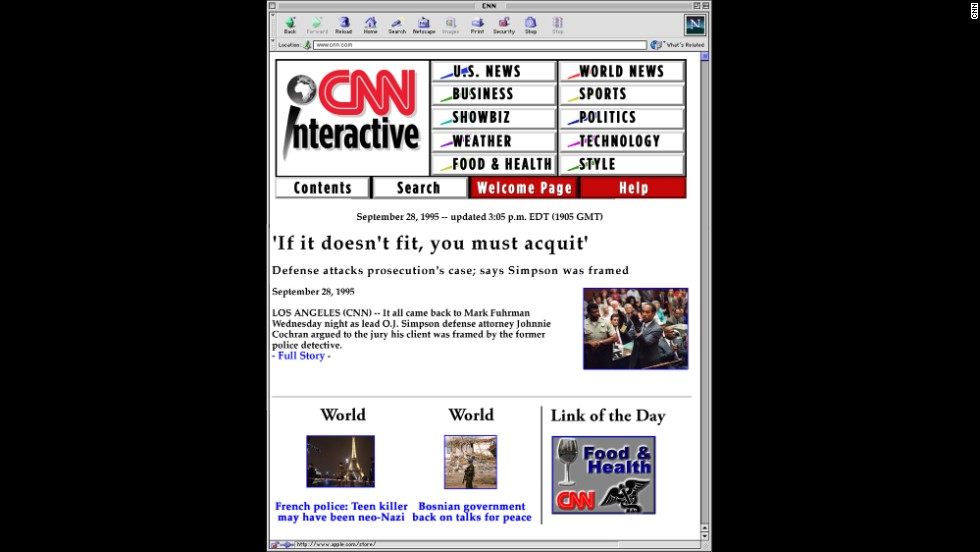 CNN.com launched as an experiment called CNN Interactive in the summer of 1995. One of its first major stories was the O.J. Simpson murder trial.