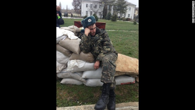 "SEVASTOPOL, UKRAINE: ""A weary Ukrainian soldier after a five-day standoff at the Belbak air base outside Sevastopol, Crimea, on March 5."" - CNN's Ben Wedeman. Follow Ben on Instagram at instagram.com/bcwedeman."