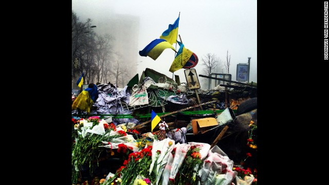 "KIEV, UKRAINE: The Shrine of the Fallen on Institutska Street honors the ""Heroes"" killed in clashes with police. Photo on March 4 by CNN's Dominique Van Heerden. Follow Dominique on Instagram at instagram.com/dominique_vh."