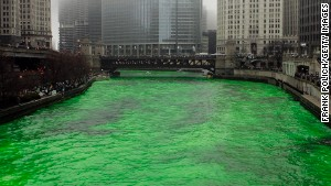 The Chicago River is dyed green for the annual St. Patrick\'s Day celebration.
