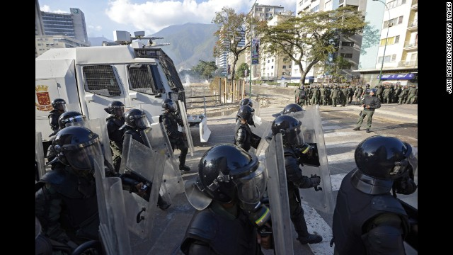 National Guard members are deployed in Caracas on March 4.