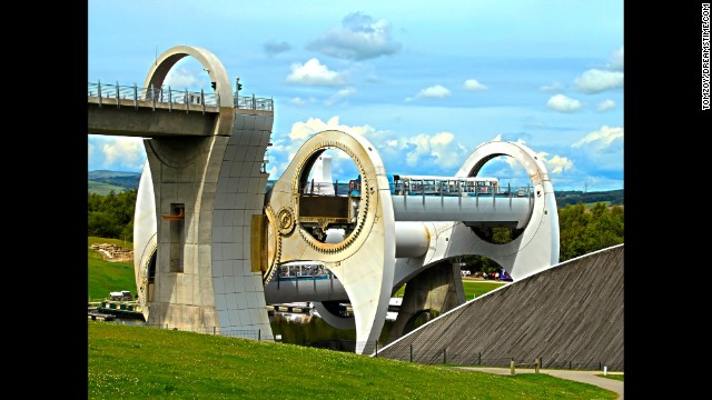 The 50-minute gondola tours at Scotland's Falkirk Wheel traverse two canals and include two rides on the elevator.