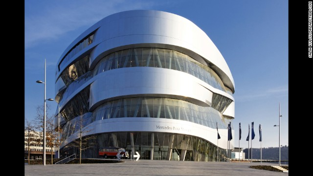The Mercedes-Benz Museum in Stuttgart, Germany, contains info on 125 years of automotive history -- and some really cool elevators with curving metallic exteriors and visor-shaped windows.