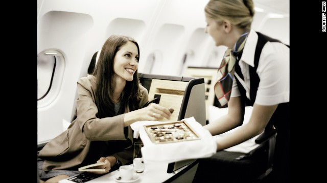 <strong>6. SWISS.</strong> Attention to detail is what sets this airline's business cabin apart: Expect out-of-the-box touches like all-veggie menus from Zurich's Haus Hiltl, the world's oldest vegetarian restaurant.