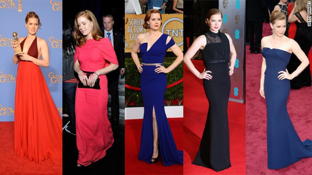 From left, Amy Adams wears Valentino at the Golden Globes, Roland Mouret at the Critics Choice Awards, Antonio Berardi at the Screen Actors Guild Awards, Victoria Beckham at the BAFTAs and Gucci Premiere at the Oscars.
