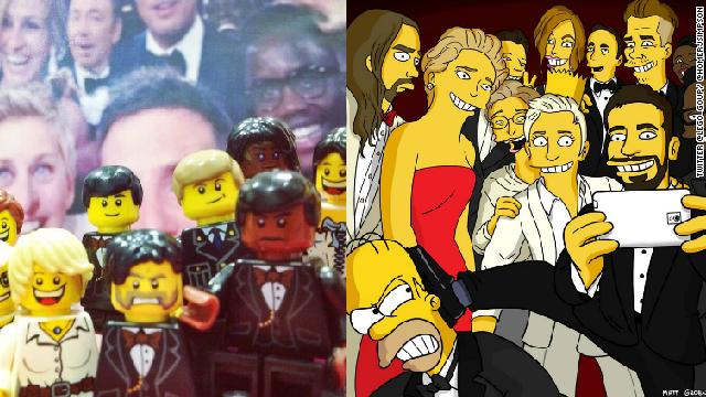 Lego y Los Simpson recrean la 'selfie' de los Óscar
