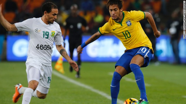 Neymar scored a hat-trick as Brazil cruised to a 5-0 win against South Africa. The Barcelona star was in impressive form while further goals from Chelsea's Oscar and Manchester City's Fernandinho wrapped up the win.<!-- --> </br><!-- --> </br>