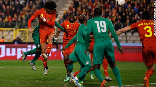Marouane Fellaini was on target for Belgium in its 2-2 draw with Ivory Coast. Radja Nainggolan doubled the home side's advantage but two late goals rescued Ivory Coast. Didier Drogba halved the deficit before Max Gradel netted in stoppage time.