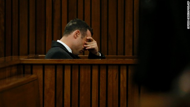 Pistorius sits in court on the third day of his trial in Pretoria on Wednesday, March 5.