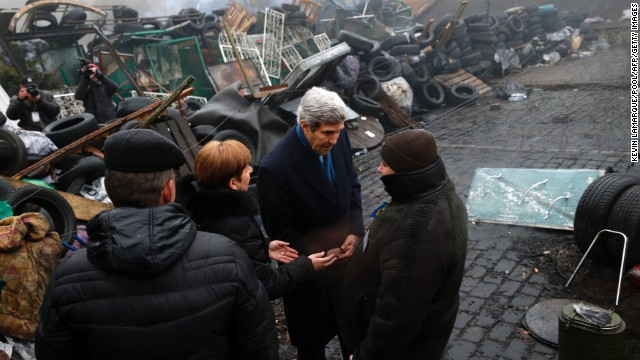 Kerry stands beside a barricade at the Shrine of the Fallen in Kiev, Ukraine, in March. It was part of his trip to Europe in search of a diplomatic solution to the crisis in Ukraine.